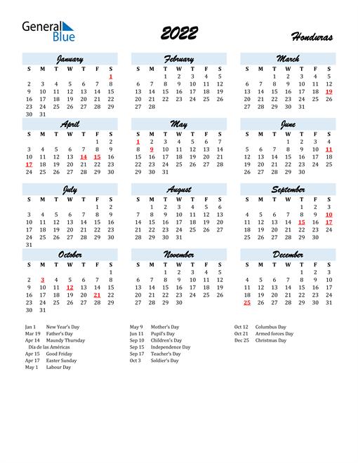 Image of 2022 Calendar in Script for Honduras