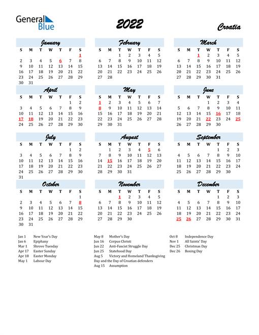 2022 Calendar for Croatia with Holidays