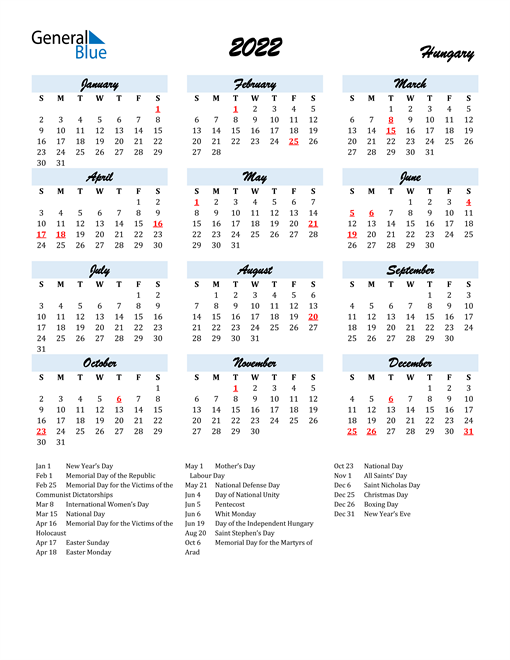 2022 Calendar for Hungary with Holidays
