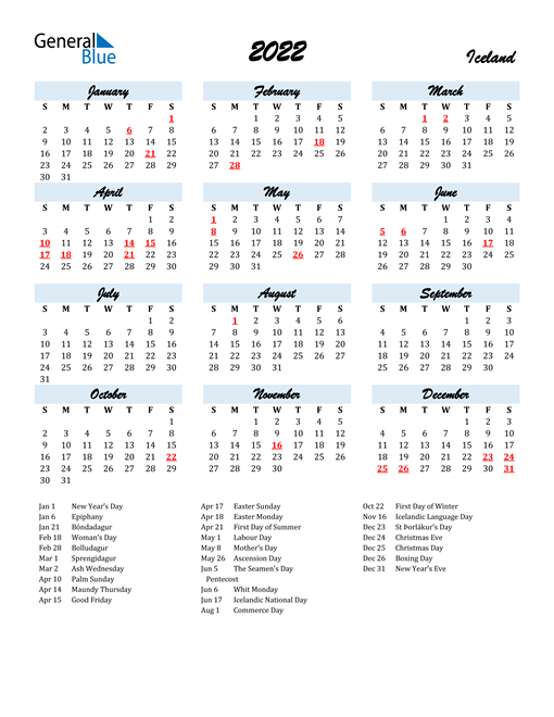 2022 Calendar for Iceland with Holidays