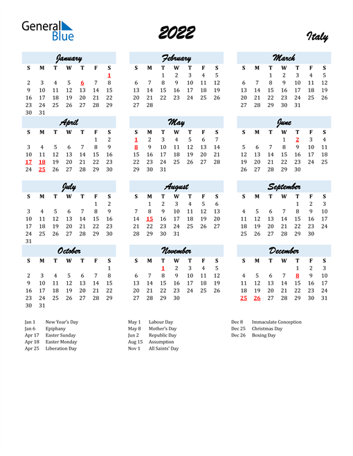 2022 Calendar for Italy with Holidays