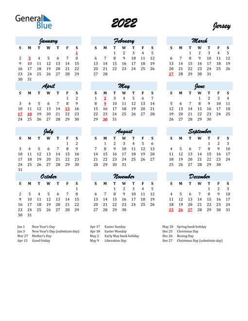2022 Calendar for Jersey with Holidays