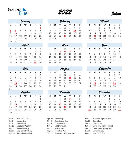 2022 Calendar for Japan with Holidays