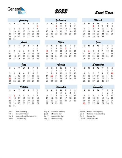 2022 Calendar for South Korea with Holidays