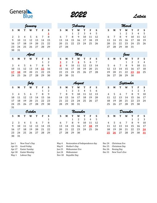 2022 Calendar for Latvia with Holidays