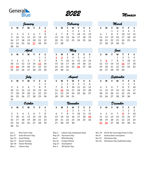 2022 Calendar for Monaco with Holidays