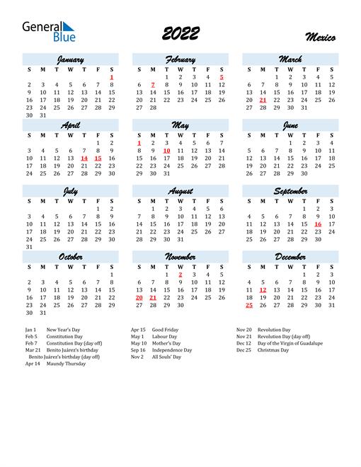 2022 Calendar for Mexico with Holidays