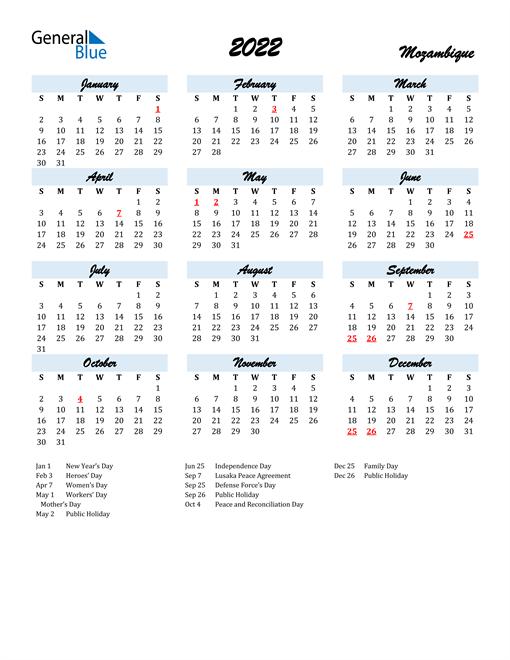 2022 Calendar for Mozambique with Holidays