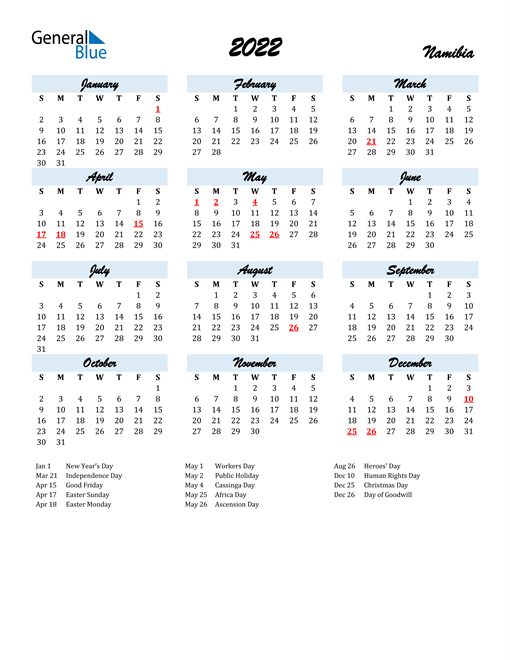 2022 Calendar for Namibia with Holidays