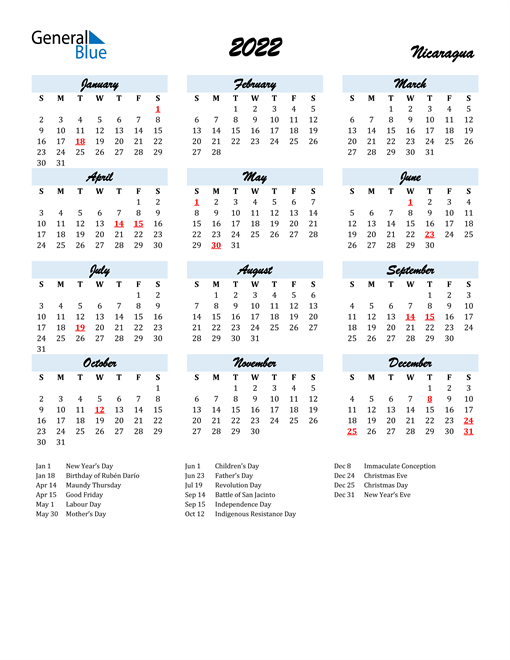 2022 Calendar for Nicaragua with Holidays