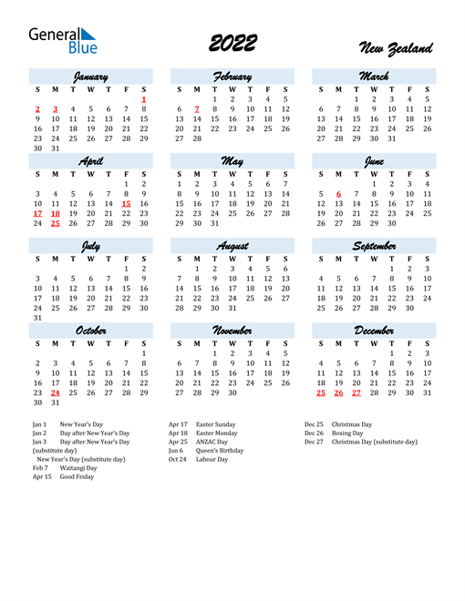 2022 Calendar for New Zealand with Holidays
