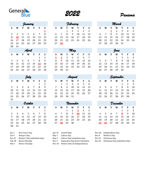 2022 Calendar for Panama with Holidays