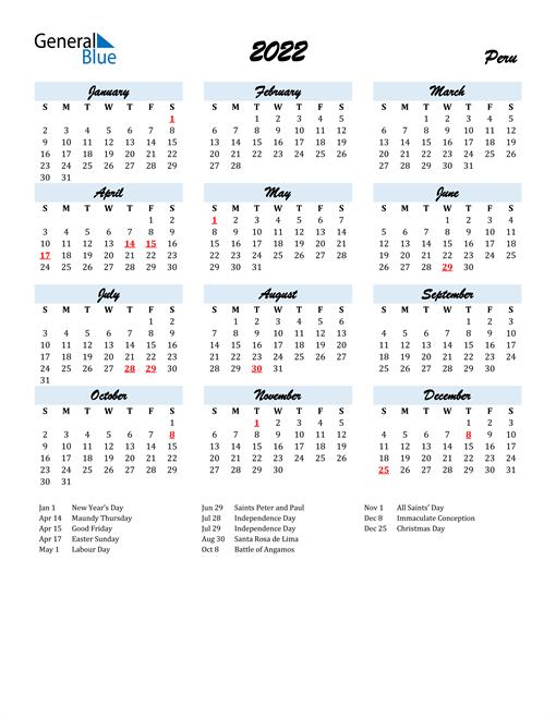 Image of 2022 Calendar in Script for Peru