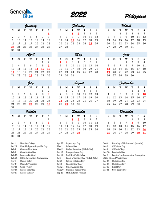 2022 Calendar for Philippines with Holidays