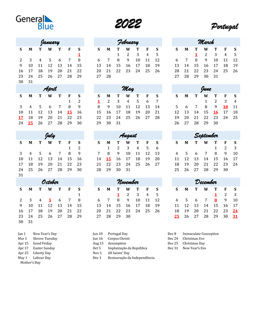 2022 Calendar for Portugal with Holidays