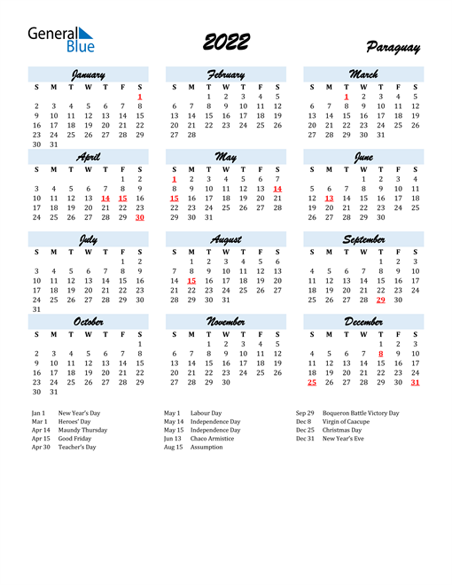 2022 Calendar for Paraguay with Holidays