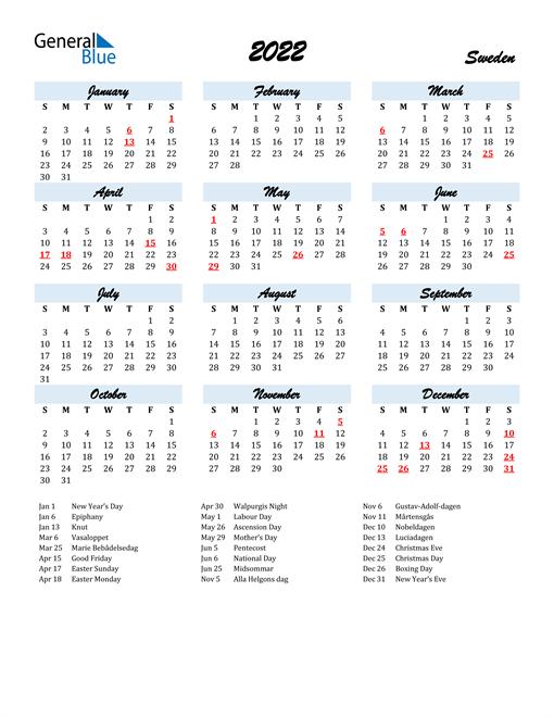 2022 Calendar for Sweden with Holidays