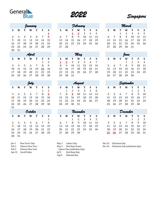 2022 Calendar for Singapore with Holidays