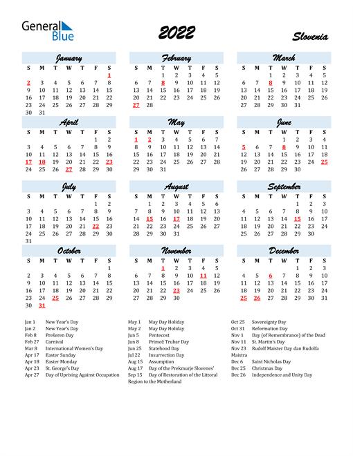 2022 Calendar for Slovenia with Holidays
