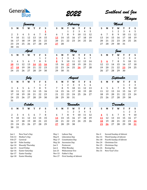 2022 Calendar for Svalbard and Jan Mayen with Holidays