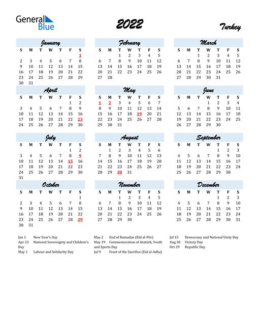 2022 Calendar for Turkey with Holidays