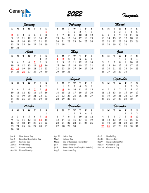 2022 Calendar for Tanzania with Holidays