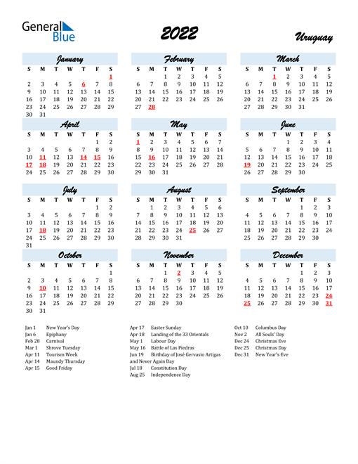 2022 Calendar for Uruguay with Holidays
