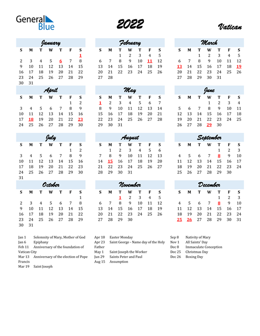 2022 Calendar for Vatican with Holidays