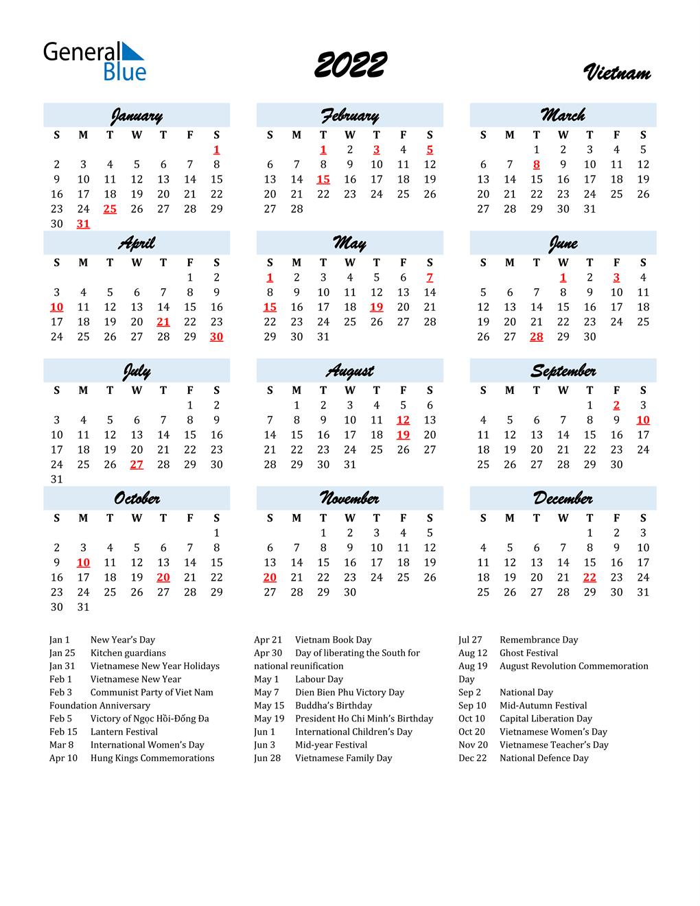 Vietnamese Calendar 2022.2022 Vietnam Calendar With Holidays