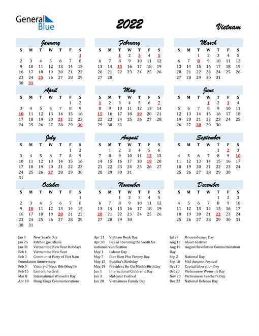 2022 Calendar for Vietnam with Holidays