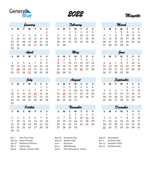 2022 Calendar for Mayotte with Holidays