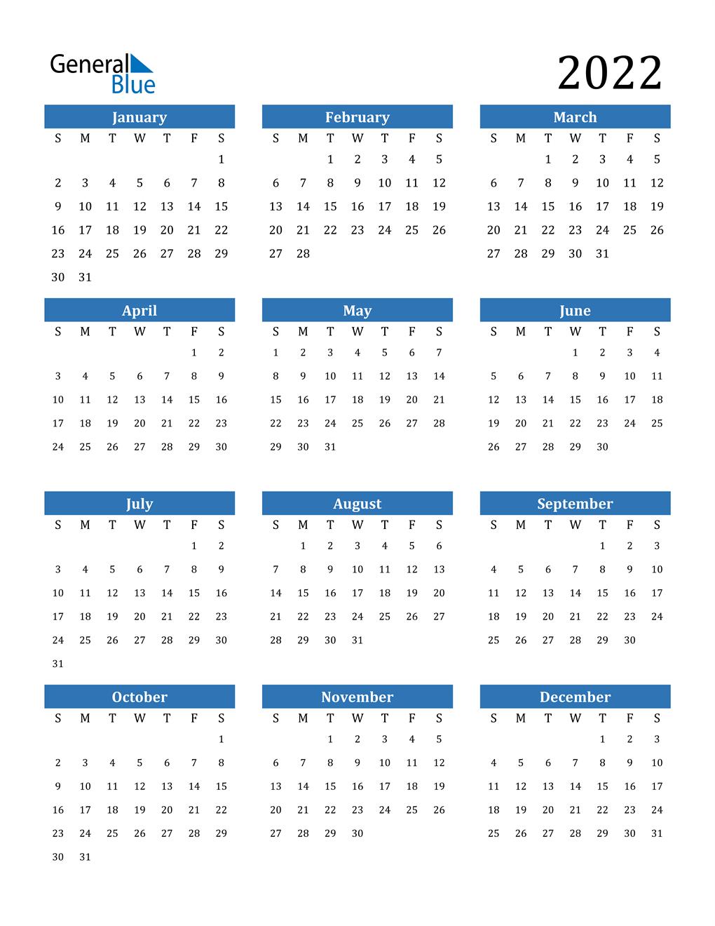 Free Print Calendar 2022.2022 Calendar Pdf Word Excel