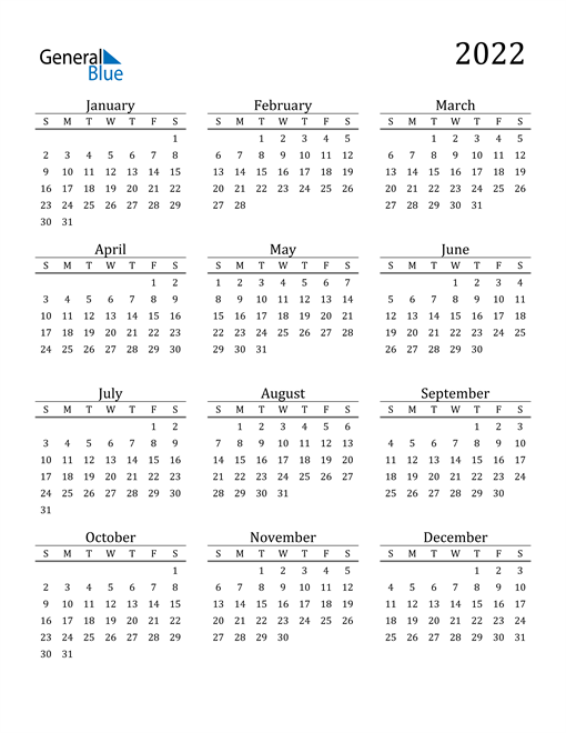 Image of 2022 2022 Printable Calendar Classic