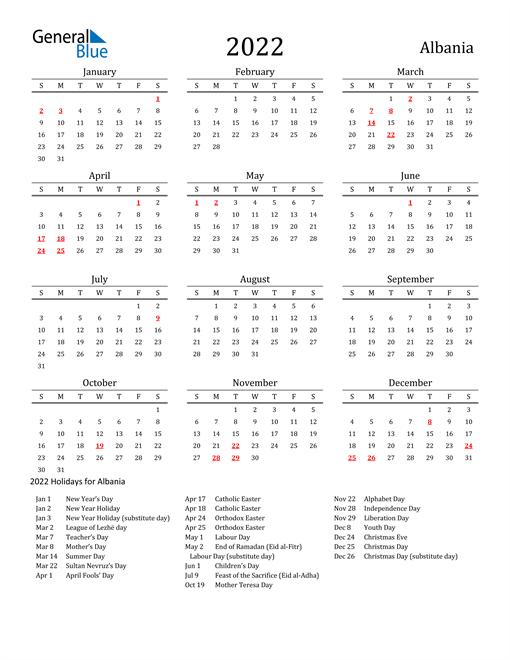 Albania Holidays Calendar for 2022