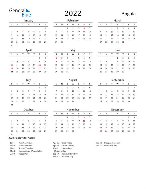 Angola Holidays Calendar for 2022