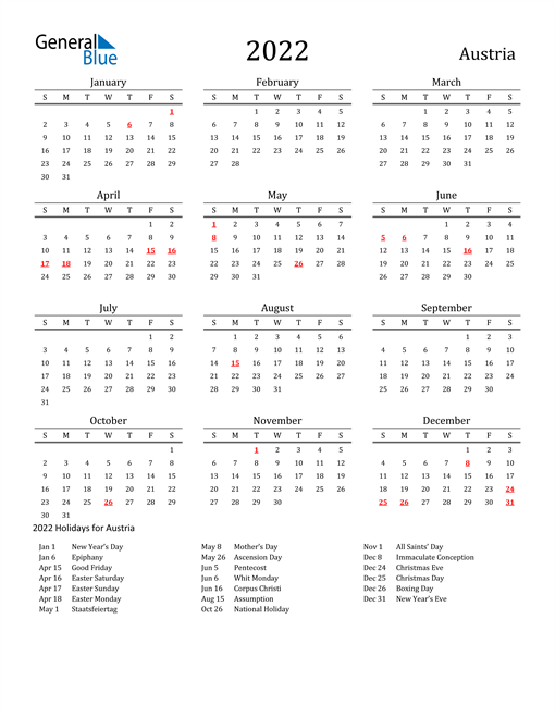 Austria Holidays Calendar for 2022