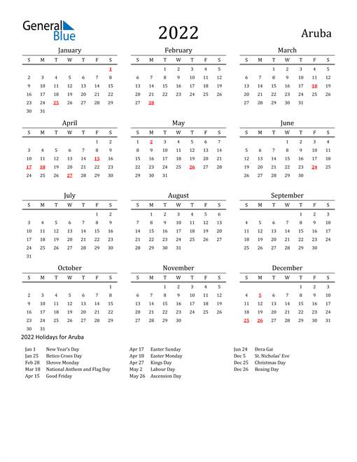 Aruba Holidays Calendar for 2022