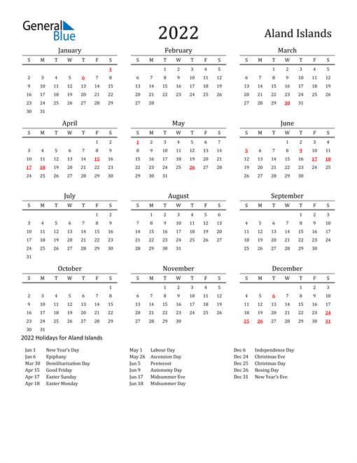 Aland Islands Holidays Calendar for 2022