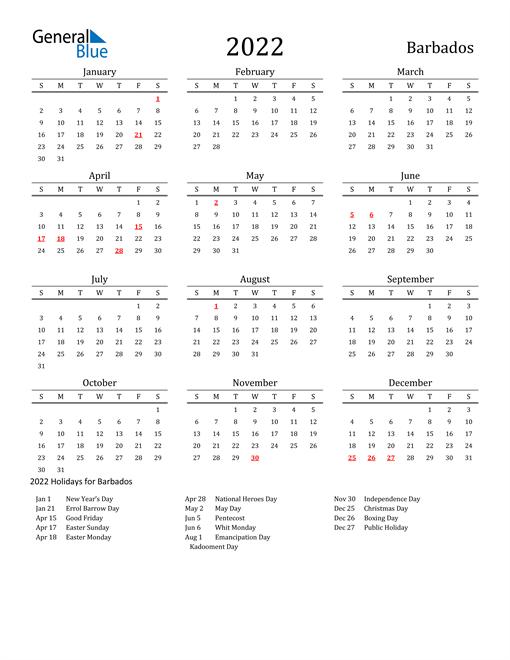 Barbados Holidays Calendar for 2022