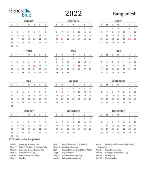 Bangladesh Holidays Calendar for 2022