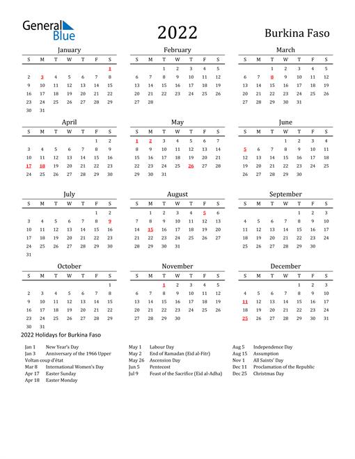 Burkina Faso Holidays Calendar for 2022