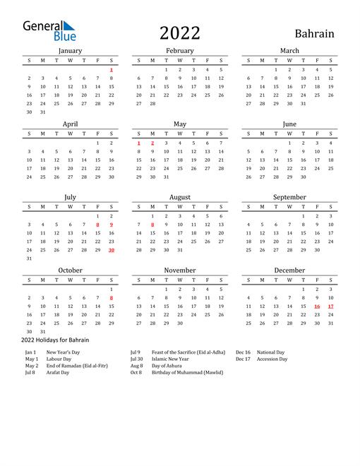 Bahrain Holidays Calendar for 2022