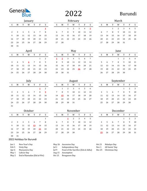 Burundi Holidays Calendar for 2022