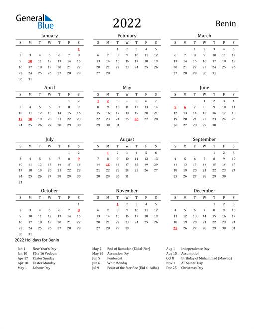 Benin Holidays Calendar for 2022