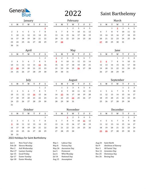 Saint Barthelemy Holidays Calendar for 2022