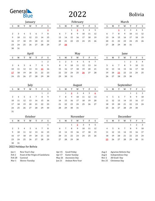Bolivia Holidays Calendar for 2022
