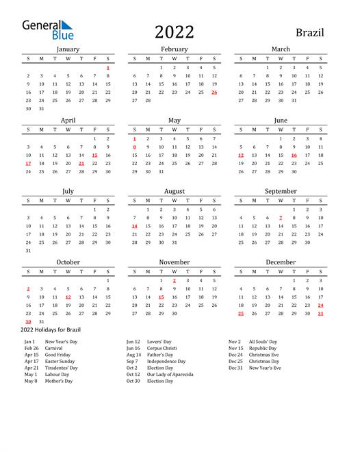 Brazil Holidays Calendar for 2022