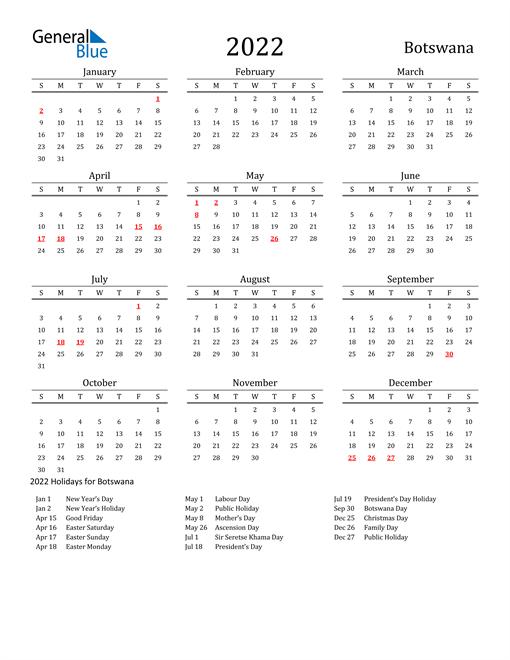 Botswana Holidays Calendar for 2022