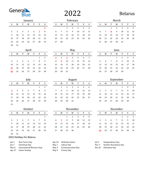 2022 Calendar - Belarus with Holidays