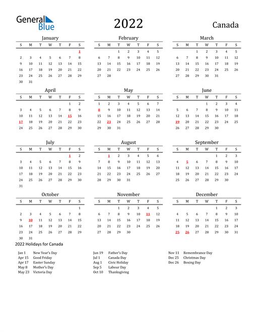 2022 Calendar - Canada with Holidays